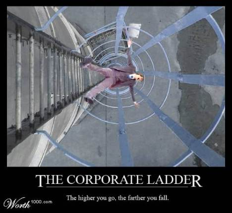 a man falling of a corporate ladder