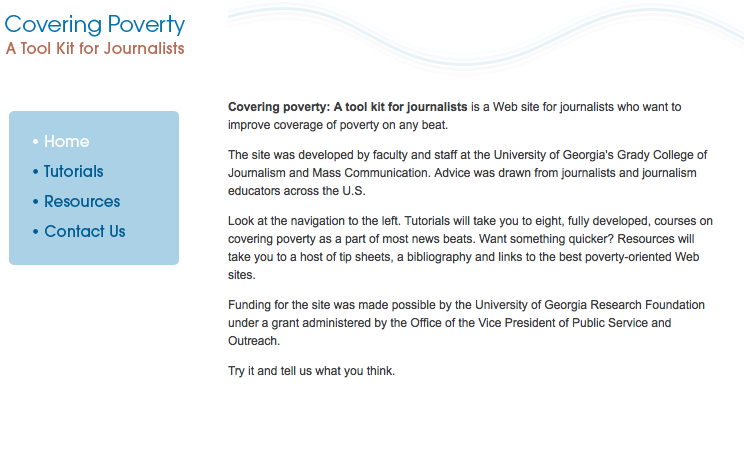 Covering Poverty website