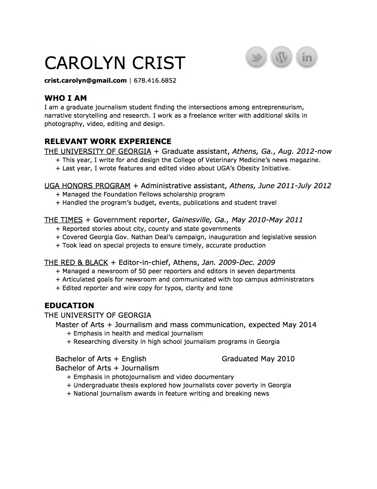 Résumé & Press – Carolyn Crist